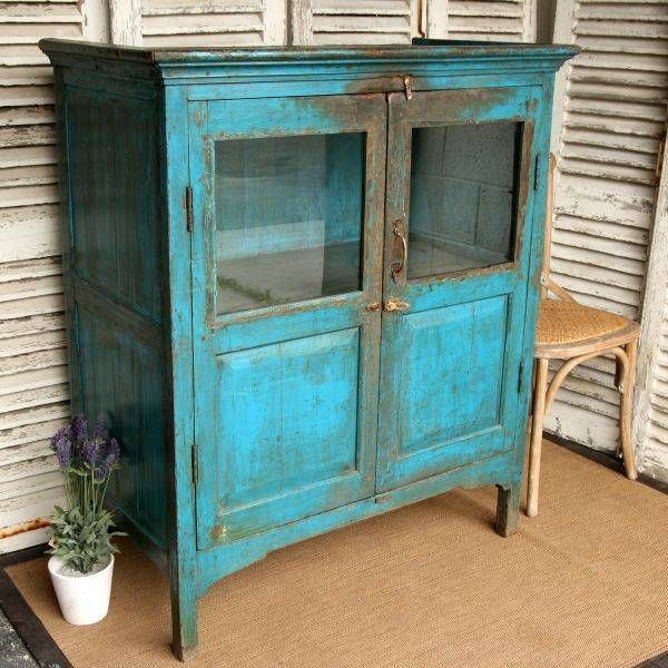 Substantial Vintage Indian Cupboard Shabby Furniture Painted Furniture Vintage Cupboard