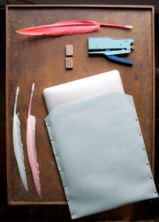 Jordan's Lovely DIY Leather Laptop Sleeve — Oh Happy Day