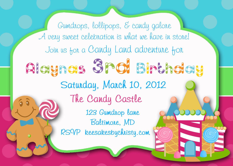Candy Birthday Invitations Sweet Shop Invitations Candy Shop – Candy Land Birthday Invitations