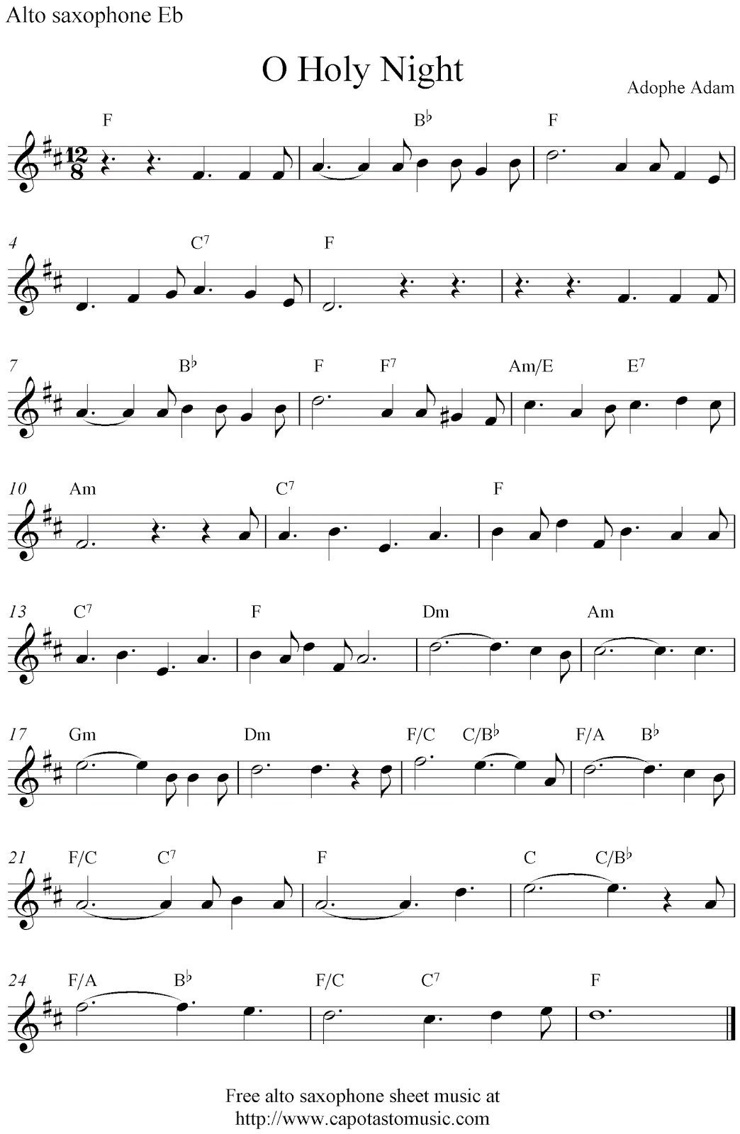 Free Sheet Music Scores O Holy Night Free Christmas Alto