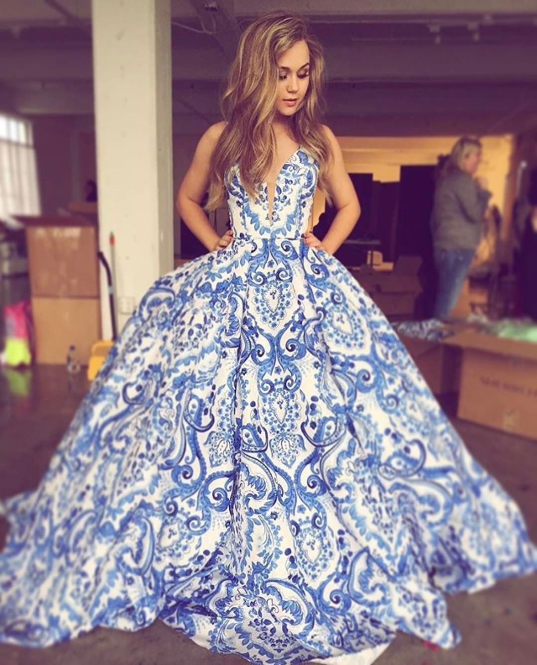 54cf9395f9e17 floral long prom dress, 2019 prom dress, elegant ball gown with pockets  #promdresses #ballgown #graduationdresses