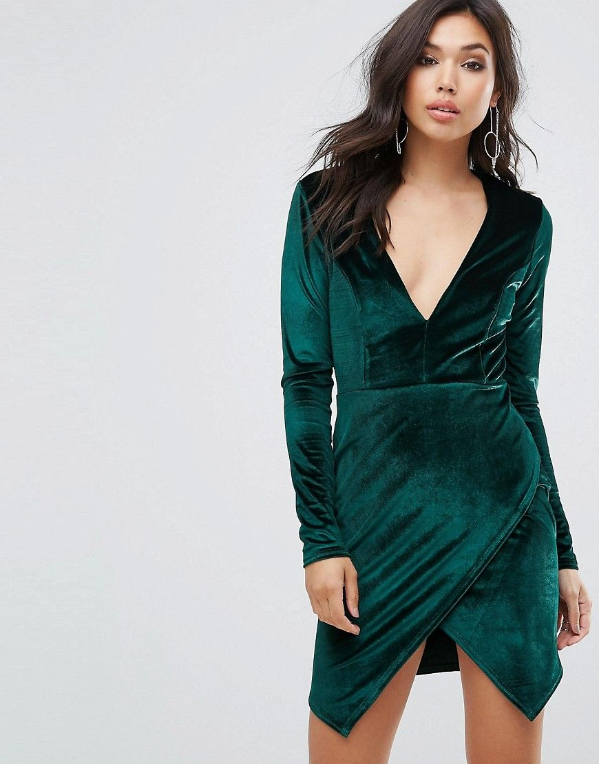 22bffb00f2 Club L Velvet Plunge Front Dress With Wrap Skirt Detail - Green