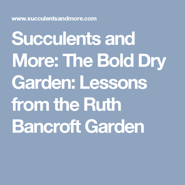 Succulents and More: The Bold Dry Garden: Lessons from the Ruth Bancroft Garden