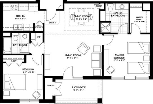 Luxury Apartment Homes Two Bedroom Extended Floor Plan Two Bedroom House Luxury Floor Plans Apartment Floor Plans