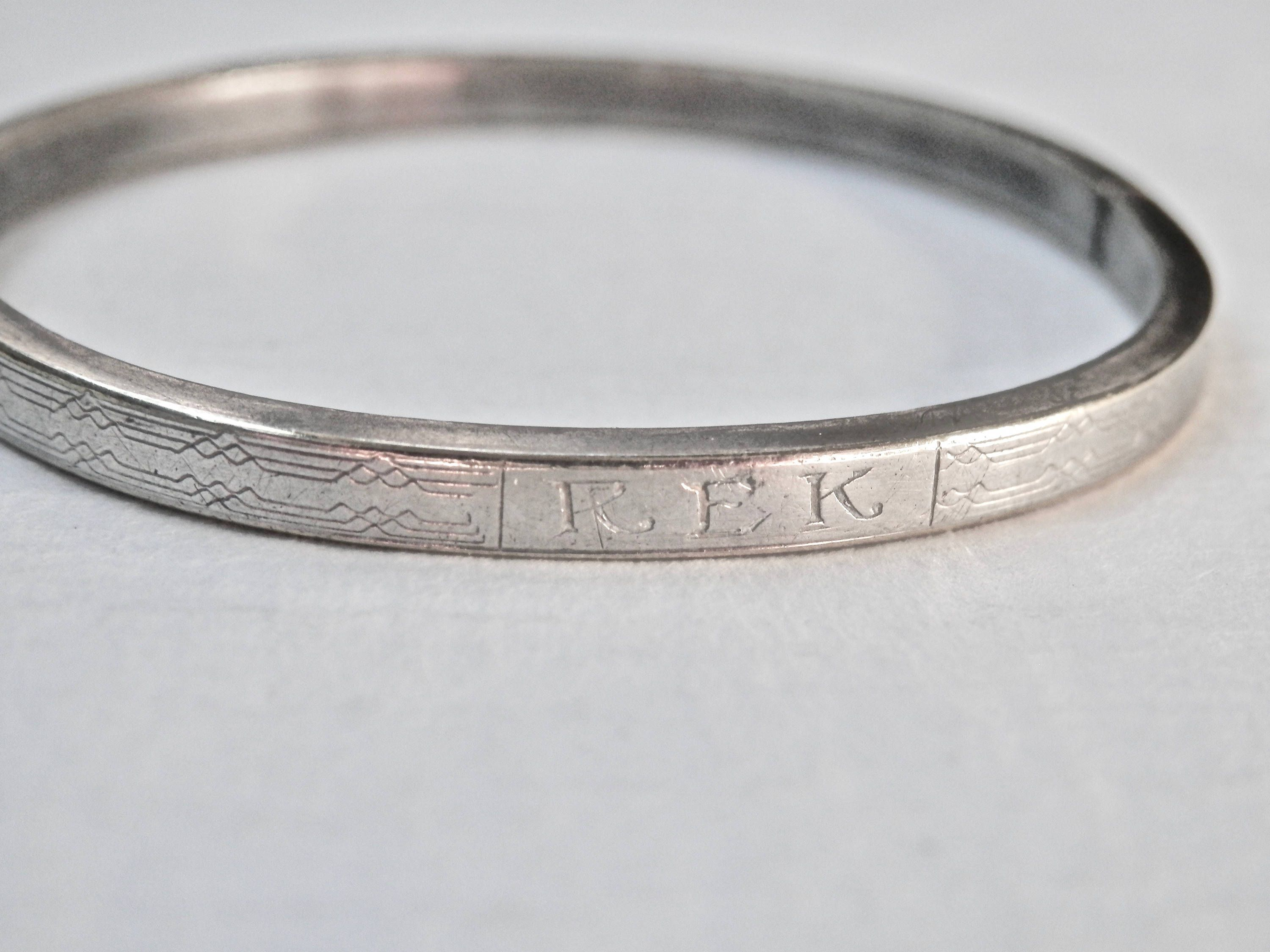 Art Deco Bracelet Sterling Baby Bangle Engraved Silver Vintage Infant Jewelry Antique By