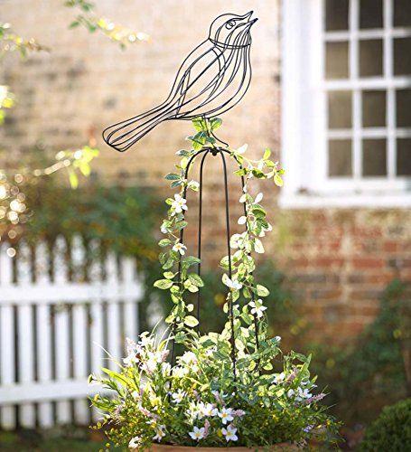 Wrought Iron Garden Obelisk, In Bird