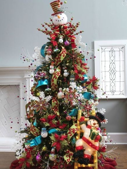Christmas-Trees-Snow-Doll-Theme-Decorating-Ideas-Pictures.