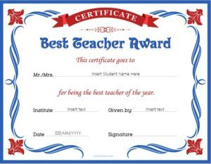 Best teacher award certificate template for MS Word DOWNLOAD at ...