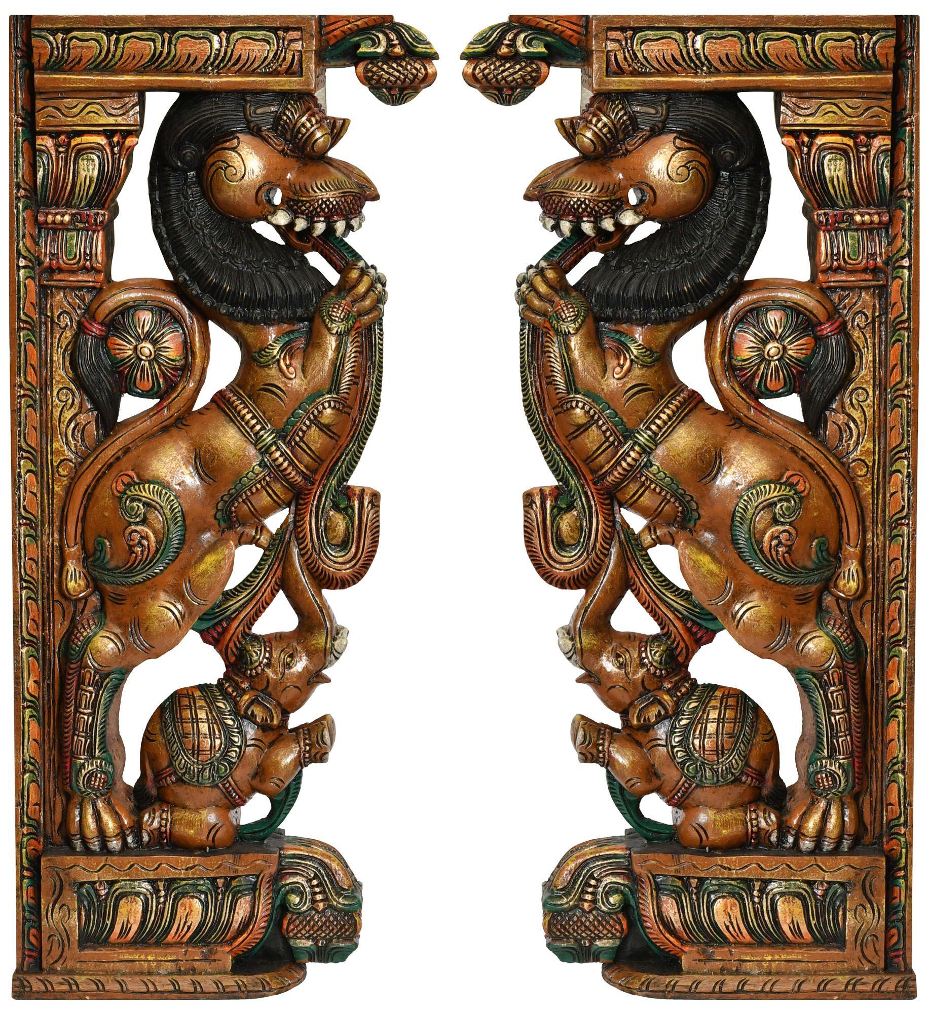 Pair of Yali Wooden Corbel Bracket painted Hindu Temple Sculpture Statue Handmad