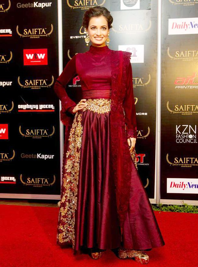 Dia Mirza In A Maroon Floor Length Anarkali On The Red