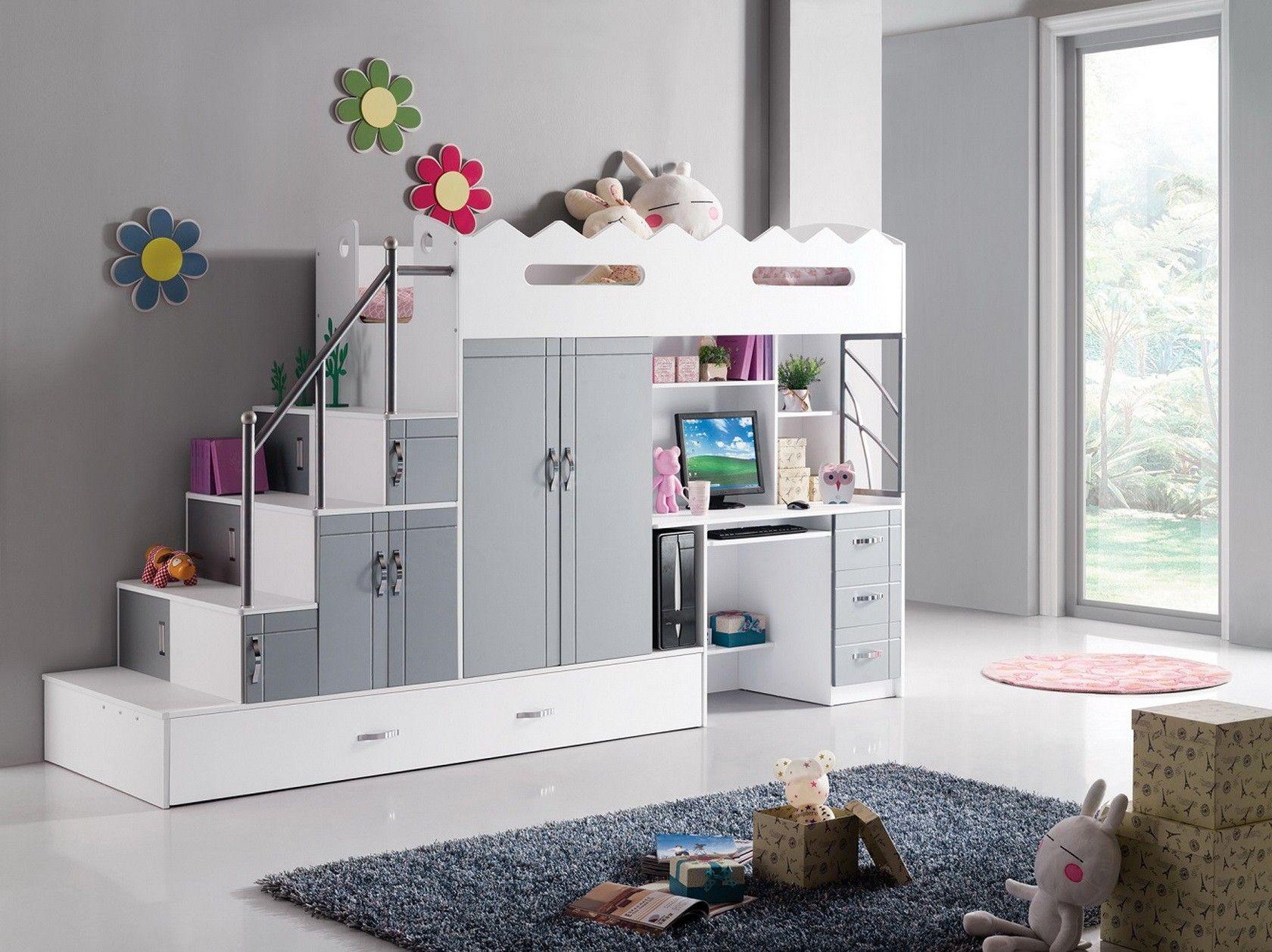 Lit mezzanine multifonction coloris blanc et gris