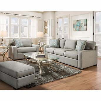 Rosemont 3 Piece Fabric Set Gray Fabric Sofa White