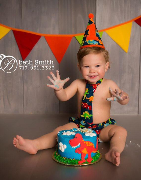 Boy Cake Smash Outfit Dinosaur Boys 1st Birthday Photo Prop