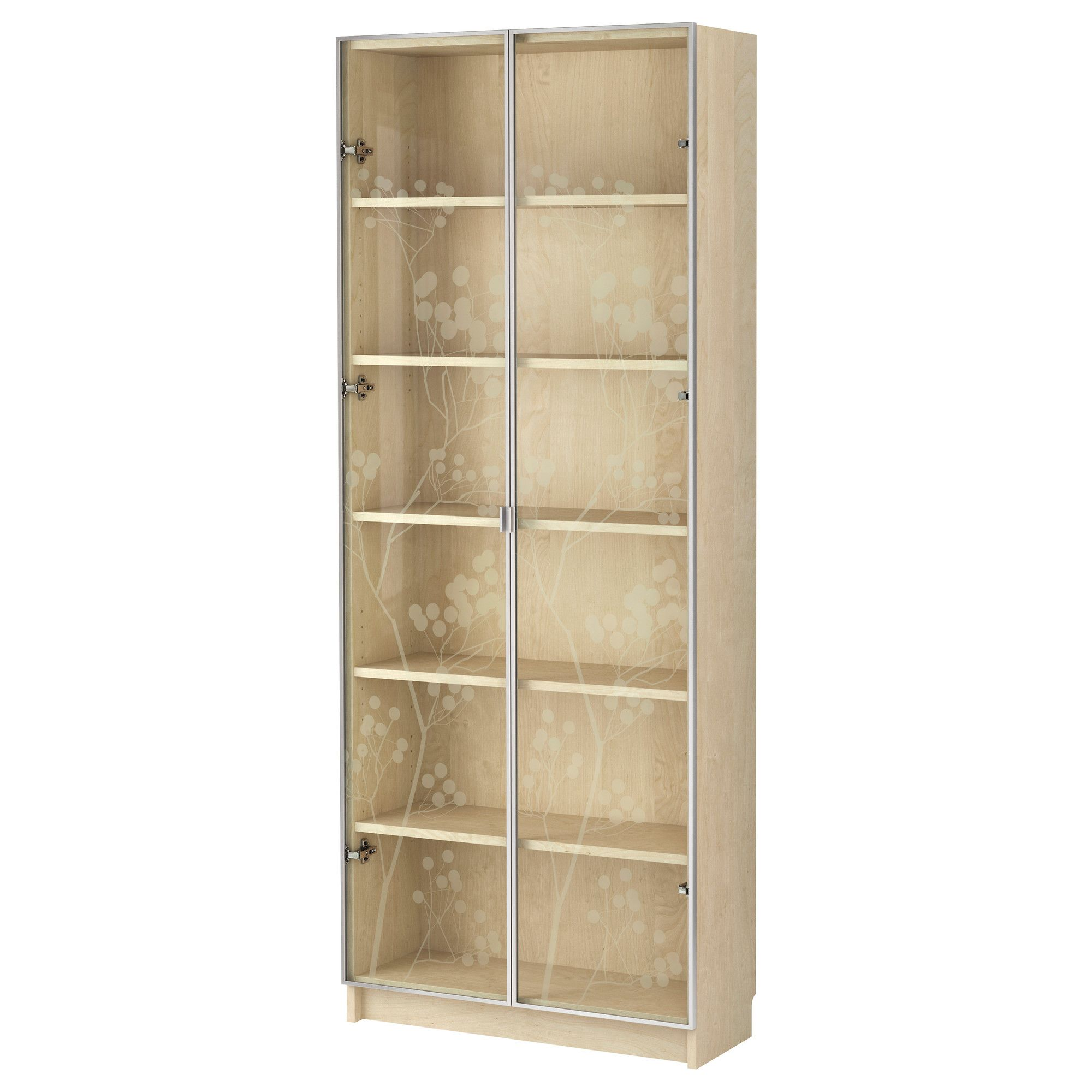 Thinking I M Leaning Towards This Birch Veneer Vs The White Bookshelves Billy Valbo Bookcase With Gl Doors Ikea