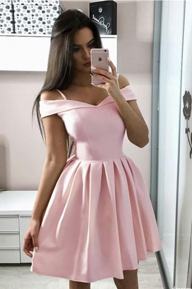 Simple A Line Pink Satin Off the Shoulder Homecoming Dresses Short Prom Dress Party Gowns LD2242 -