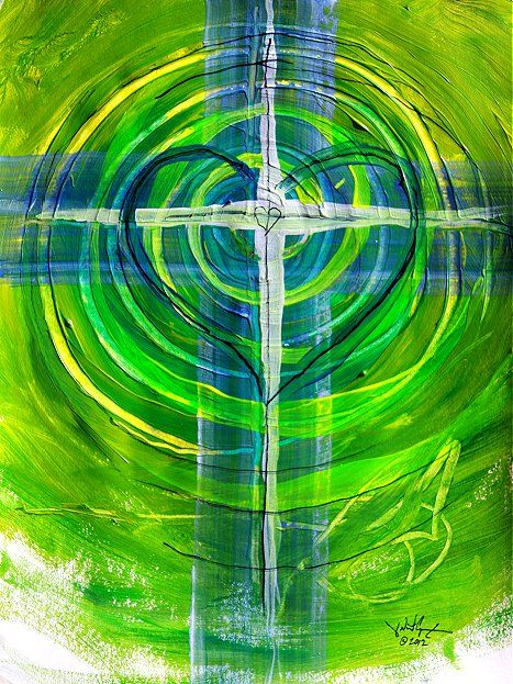 Prophetic Art painting, abstract cross art with heart and circles ...