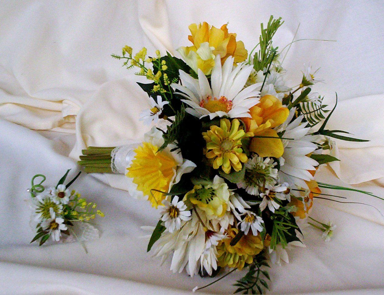 Silk Bridal Bouquet Yellow Wedding Flowers Package Custom Payment
