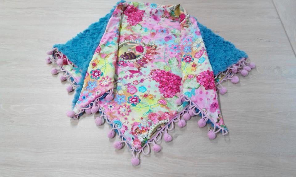 Kinderomslagdoek met immitatiebont en So Cute tricot