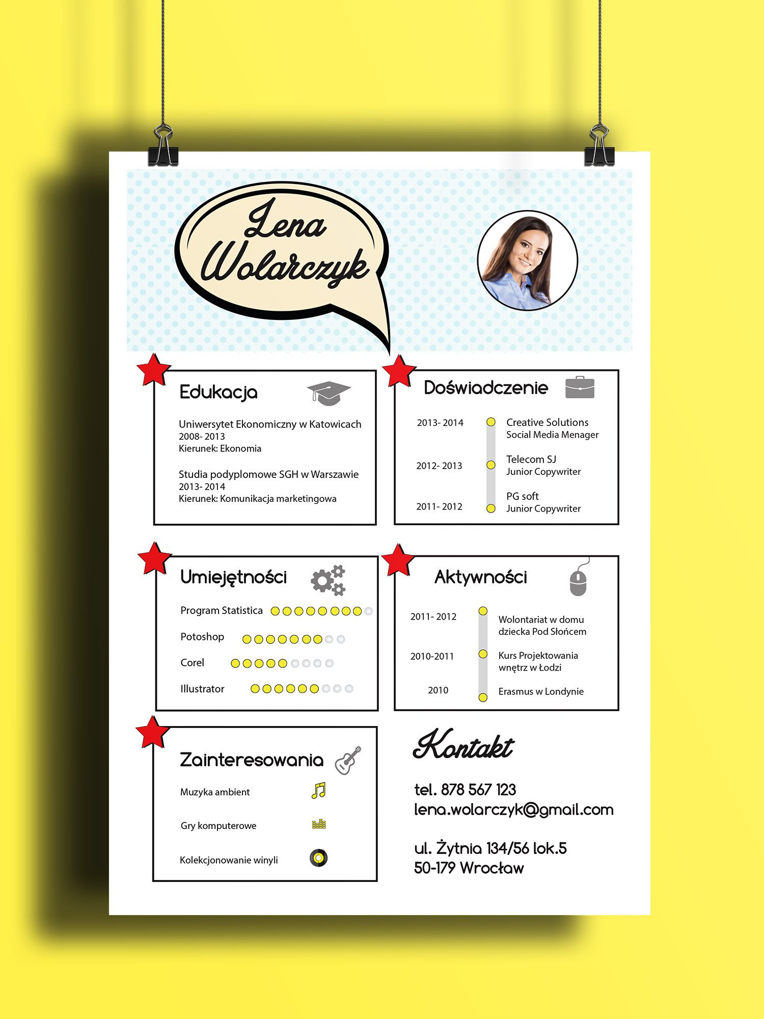 Pop art resume design. Find CV design on Etsy ♥ | Nifty designs ...