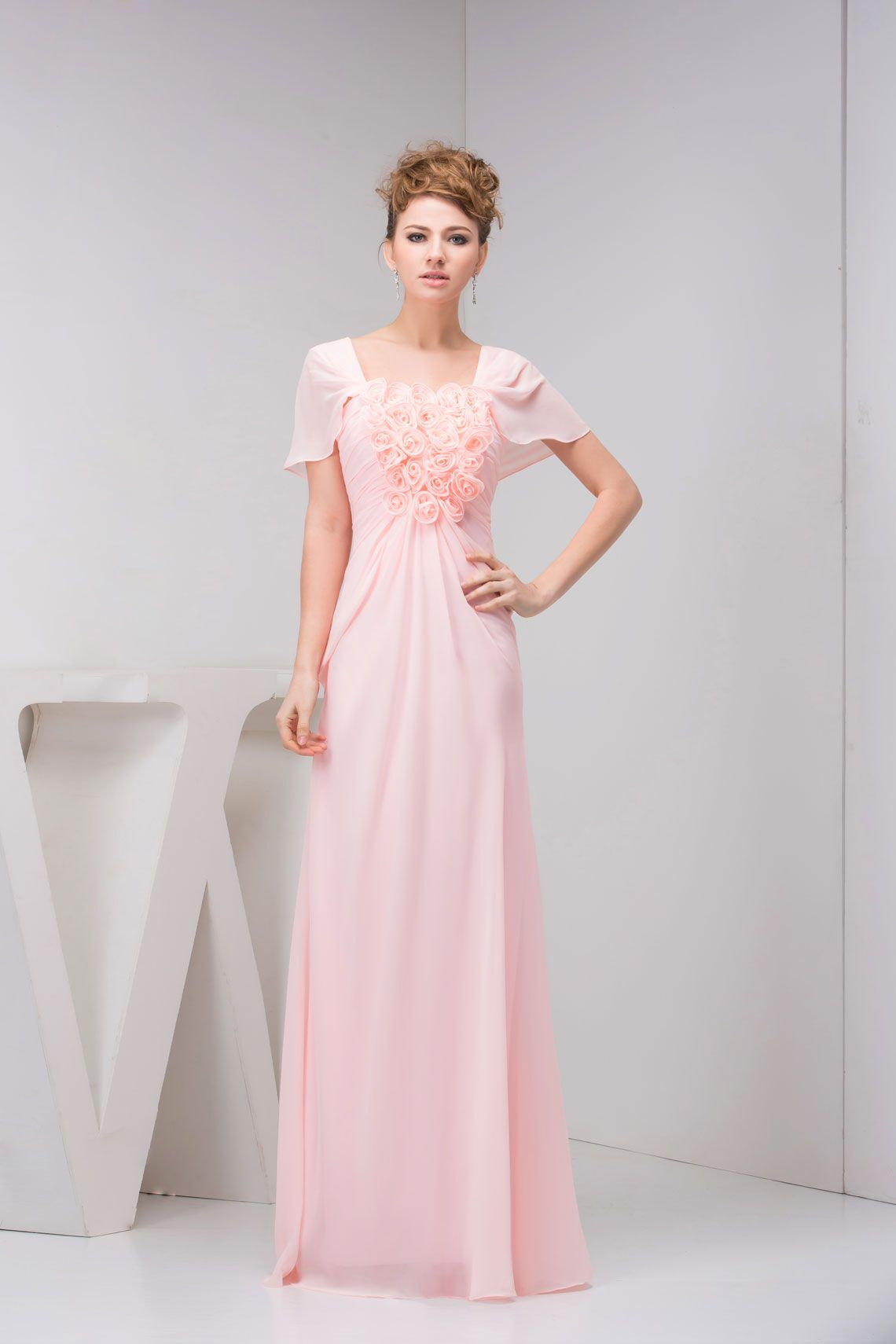 Pink floorlength square chiffon aline evening dress with flowers