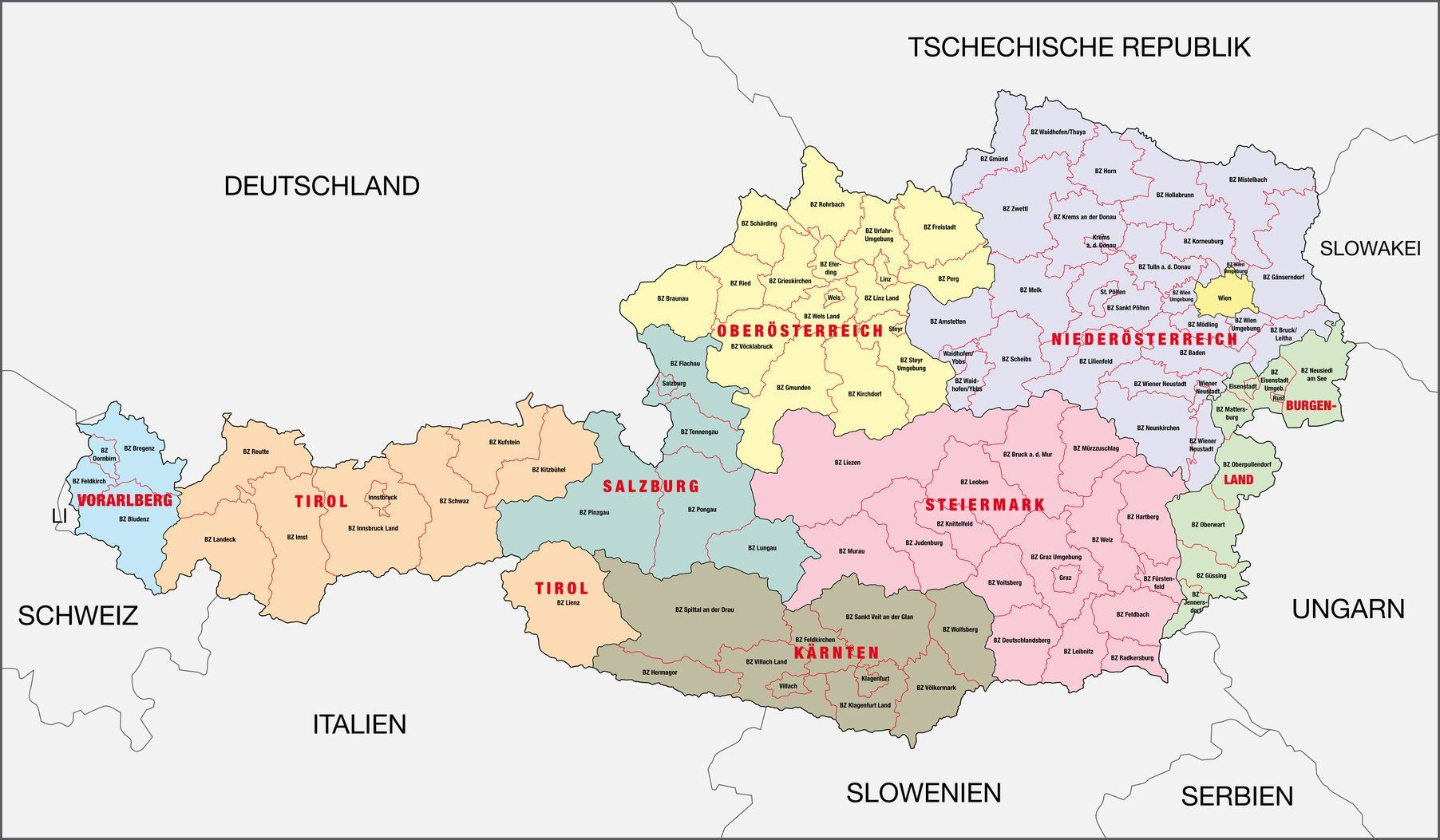 österreichische bundesländer karte Österreichische Bundesländer mit Hauptstädten | Landkarte