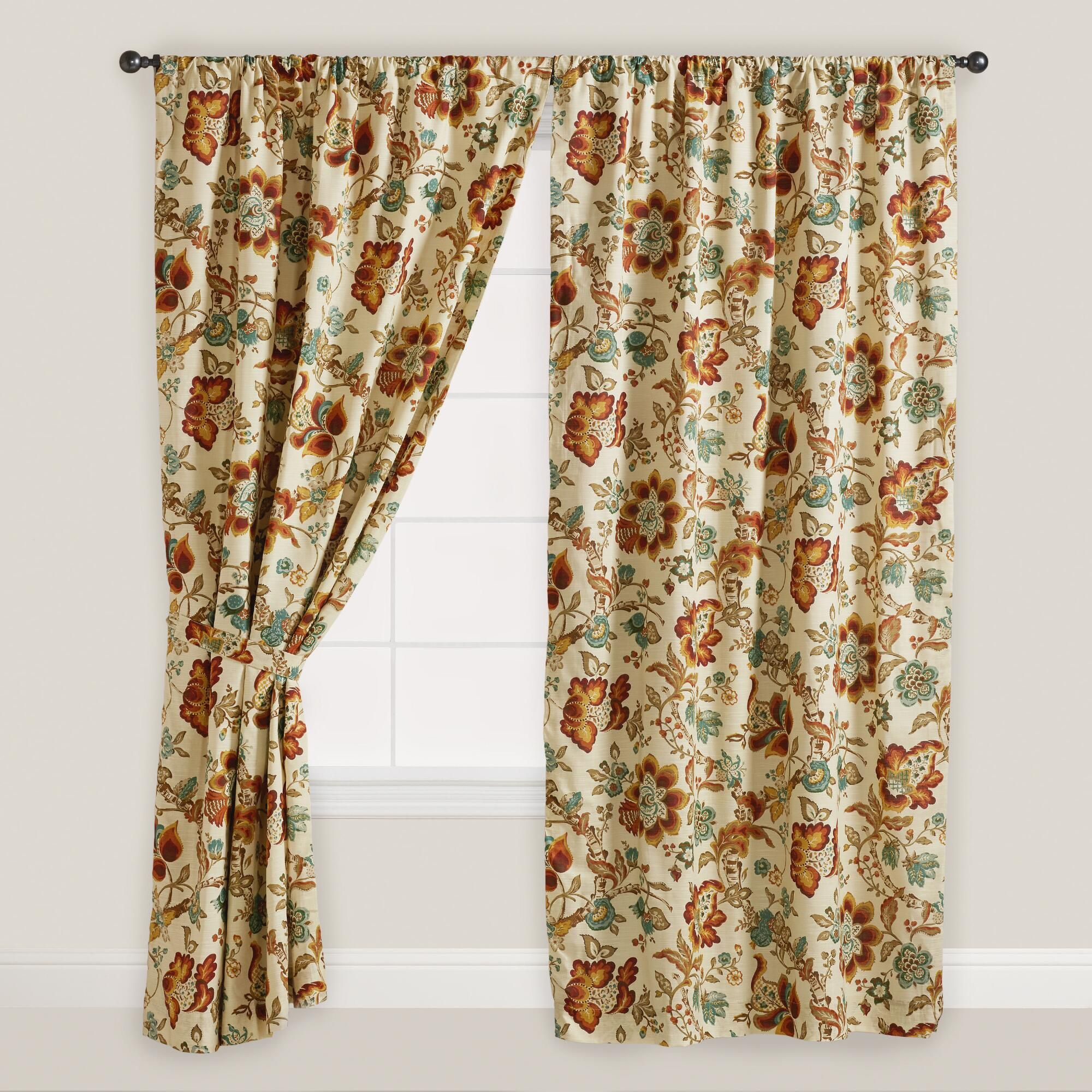 Multicolor floral malli sleevetop curtains set of world market