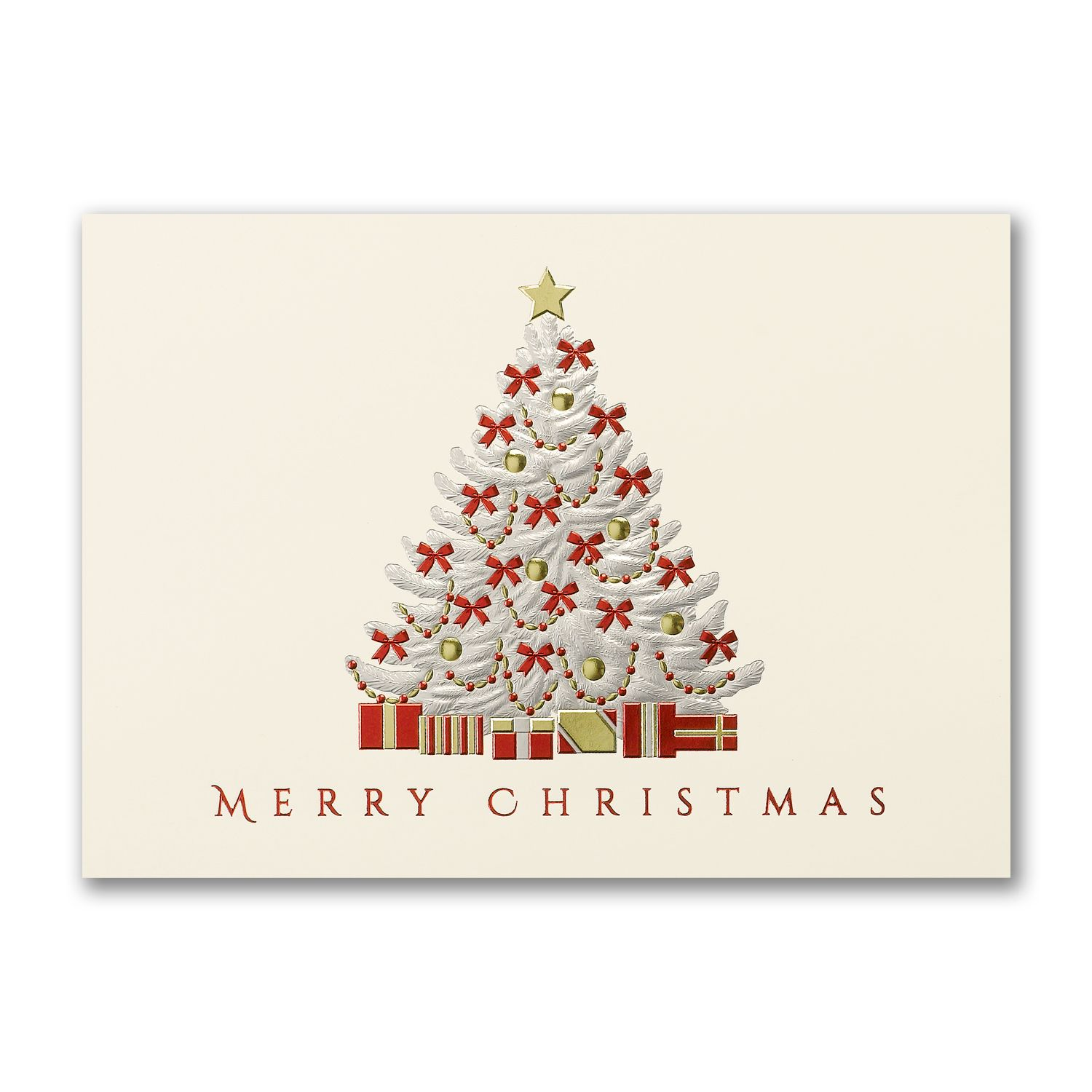 Elegant Merry Christmas Tree Greeting Cards Personalized For