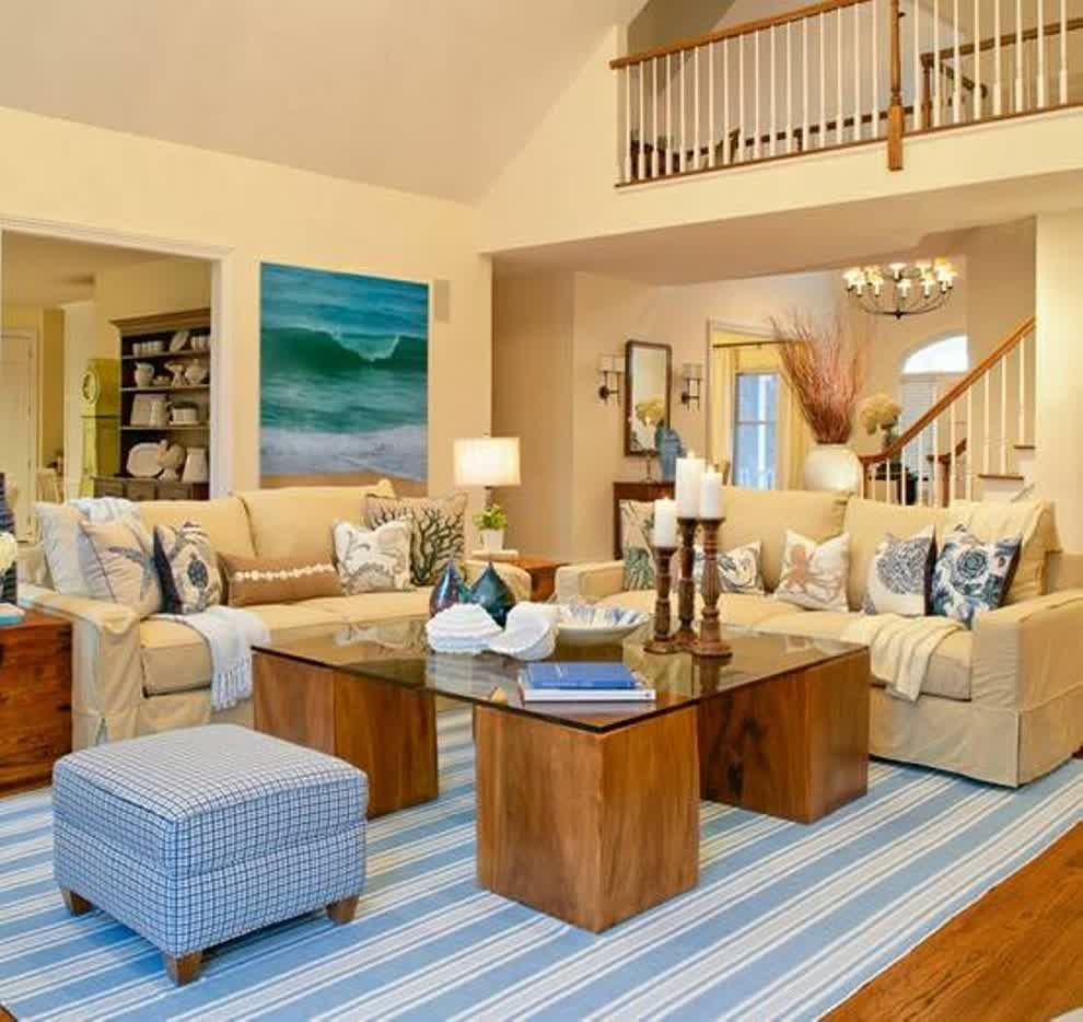 Beach house living room beach theme decor themed rugs for Coastal living rooms ideas