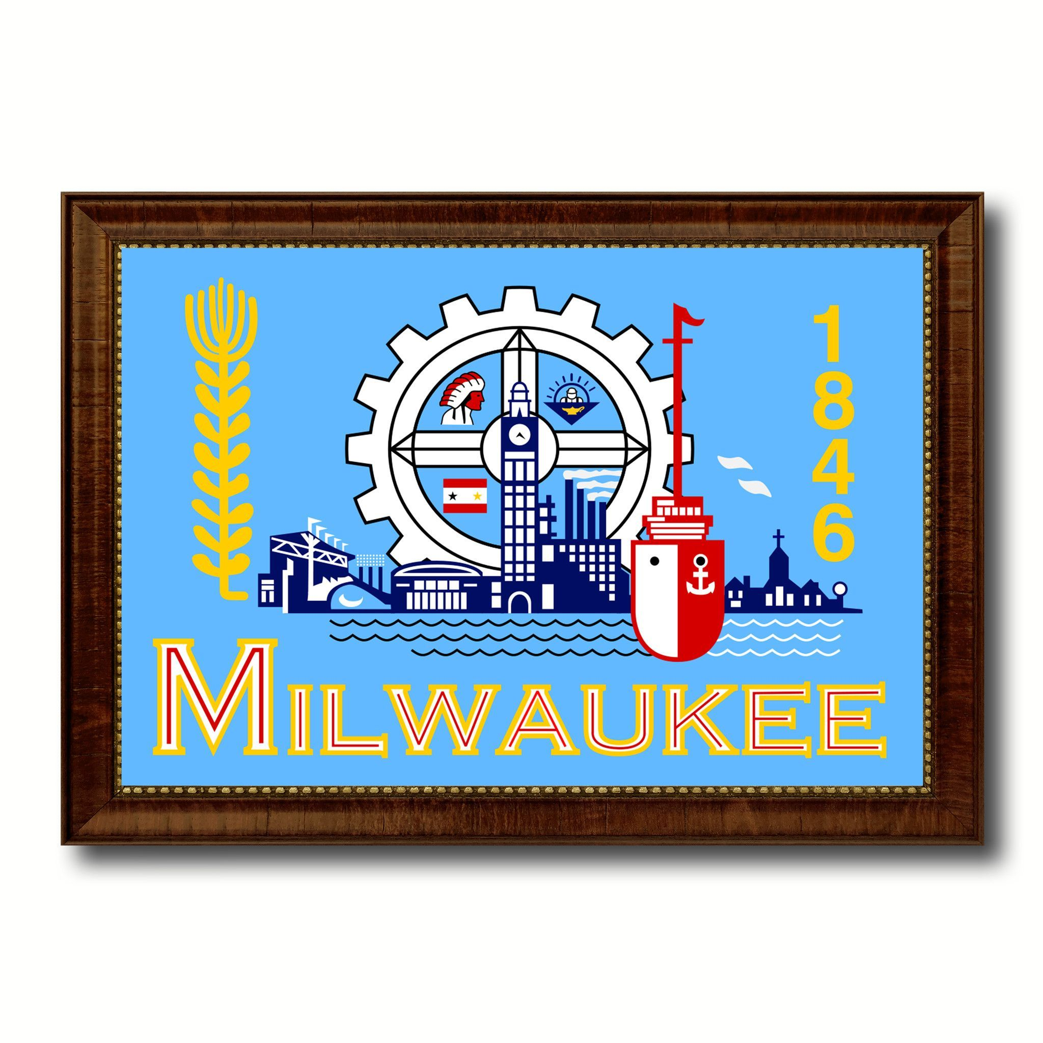 Milwaukee City Wisconsin State Flag Canvas Print Brown Picture Frame ...