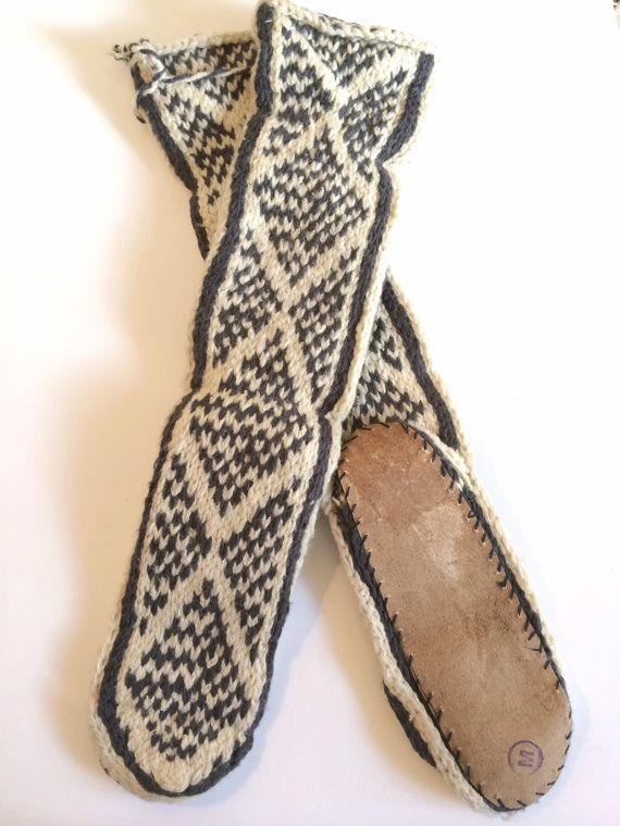 Tall Slouchy Knit Wool Mukluk Slipper Leather Sole Knitting