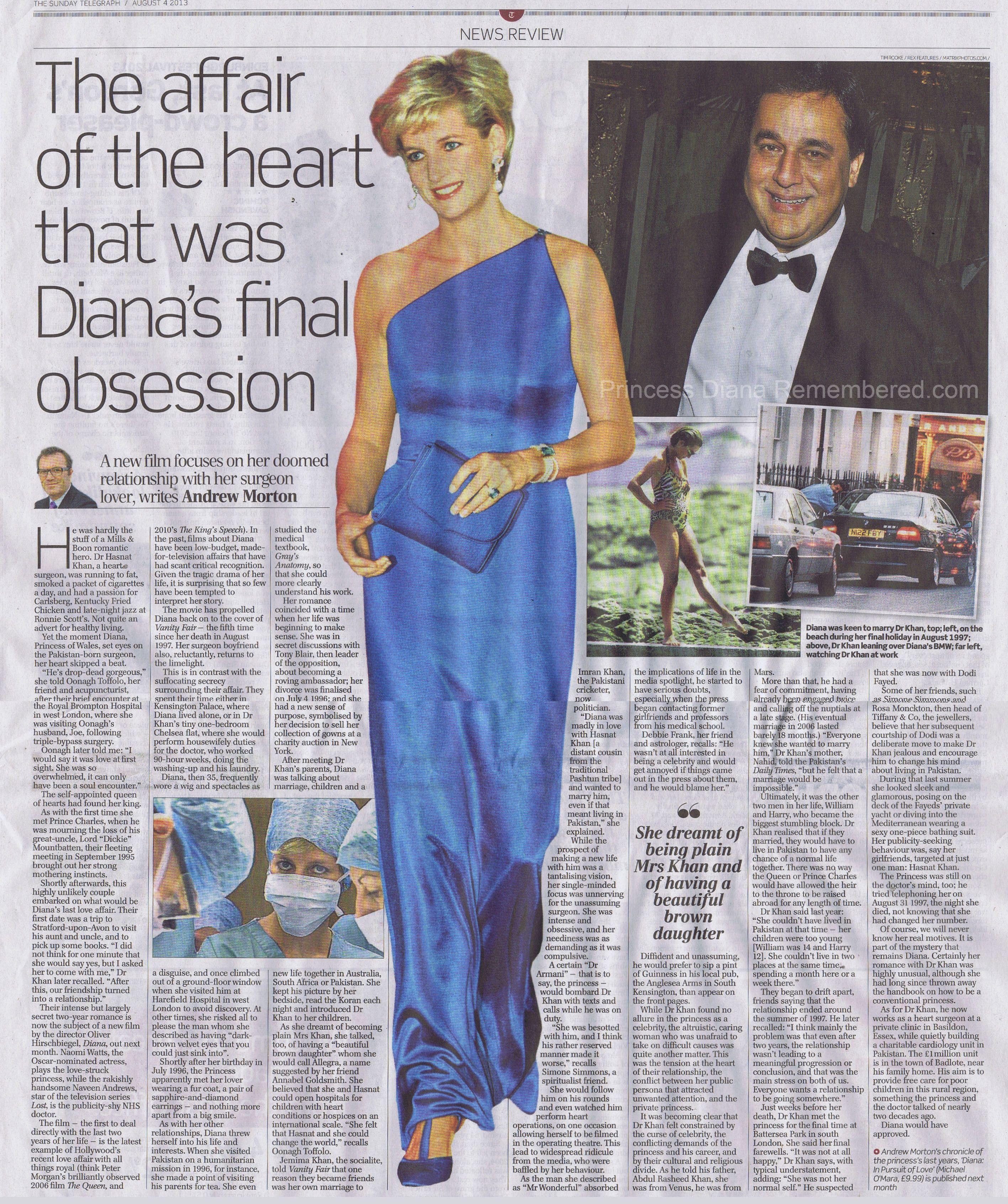 Hasnat Khan article Princess diana, Princess diana