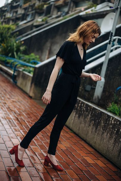 Go Alternative To A Dress For Your Date Night With This $108 ASOS Calvin Klein V-Neck Short Sleeved Black Jumpsuit One Piece Romper Teamed With Mid Block Heel Red Suede Shoes Tumblr
