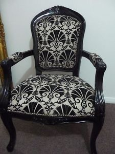 Black And Cream French Brochure Chairs | ... About French Antique Chair  Black U0026