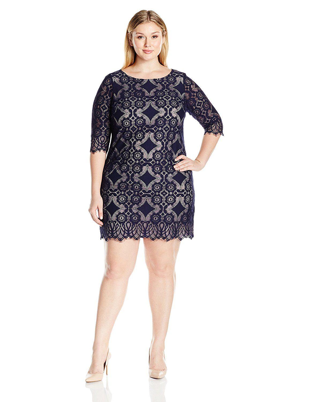 c592c14bbe3 Eliza J Women s Plus Size Lace Shift Dress at Amazon Women s Clothing store