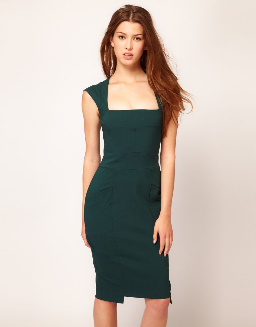 Hybrid square neck pocket pencil dress asos dresses pinterest