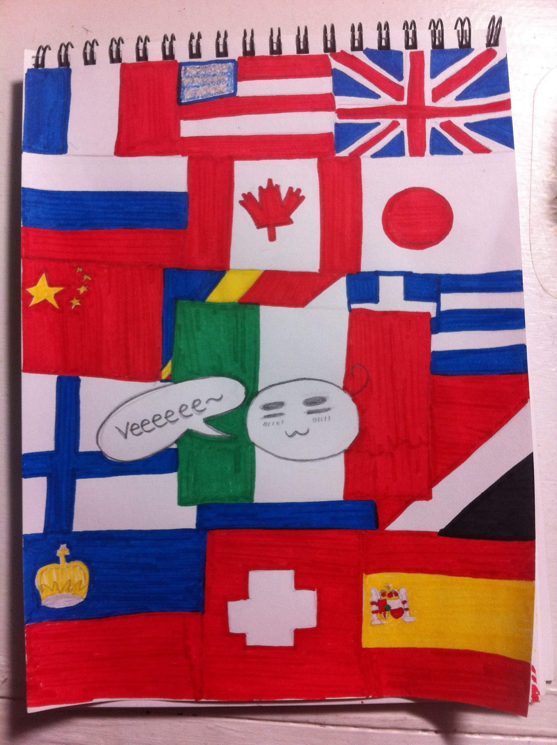 Hetalia Flag Day Colored France America England Russia Canada