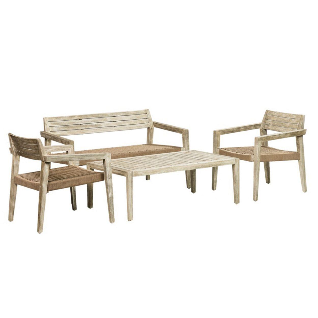 Debenhams Acacia Wood Mikado Garden Table Bench And 2 Carver Chairs