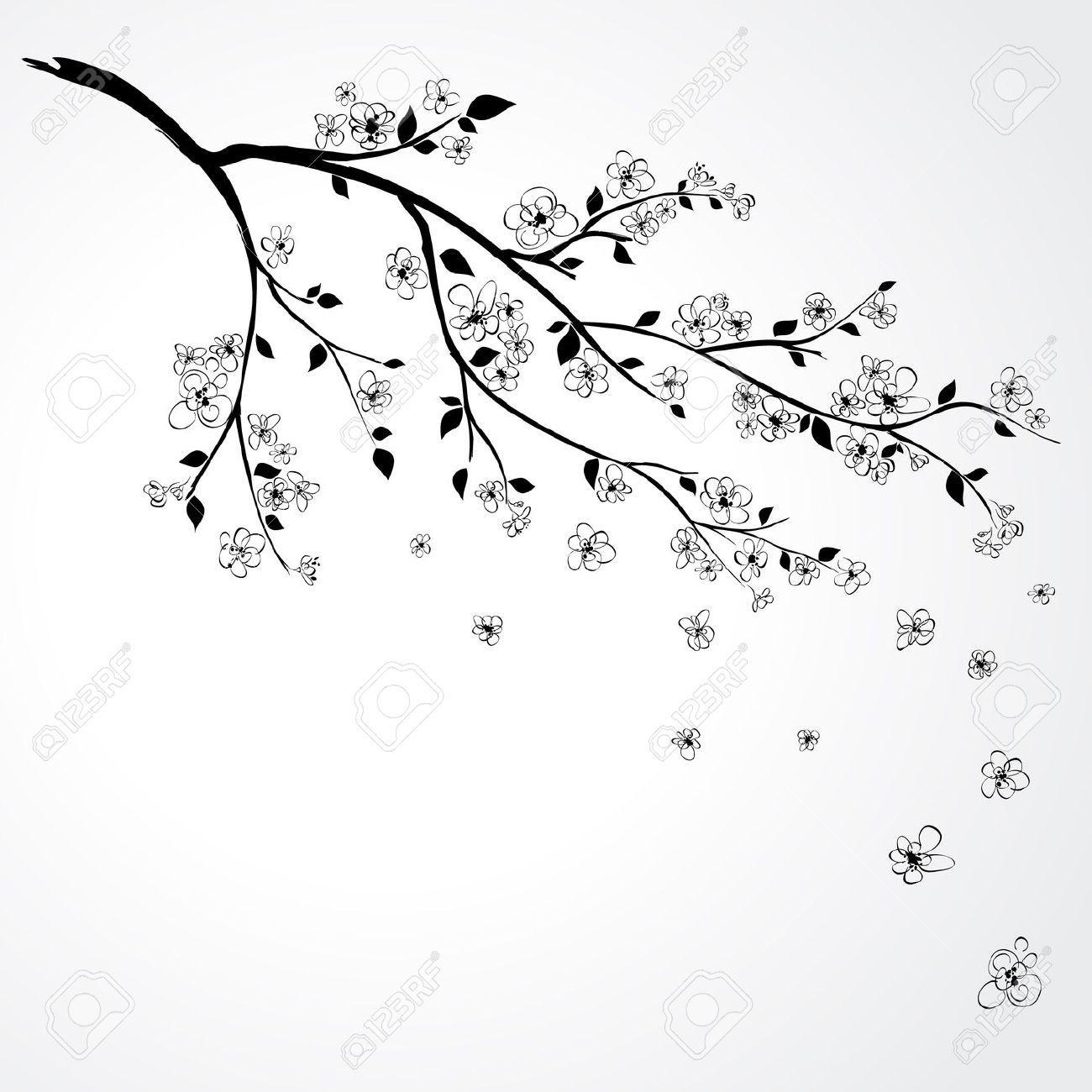 white cherry blossom branch clipart - Google Search ...