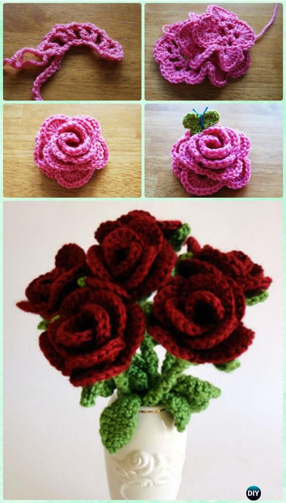 Crochet Rose Flower Bouquet Free Pattern- #Crochet 3D Flower Bouquet ...
