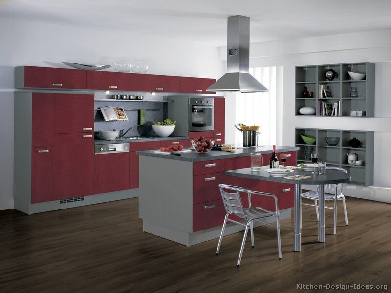 Kitchen idea of the day european kitchen cabinets in for Dark red kitchen cabinets