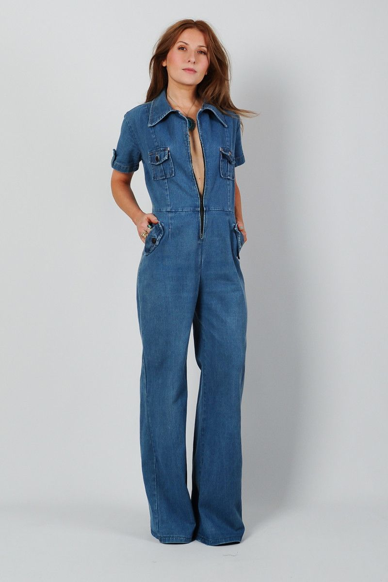 66c84fe9bf7 Vintage 70s Bell Bottom Denim Jumpsuit s s M Wide Leg Jean Hippie Palazzo