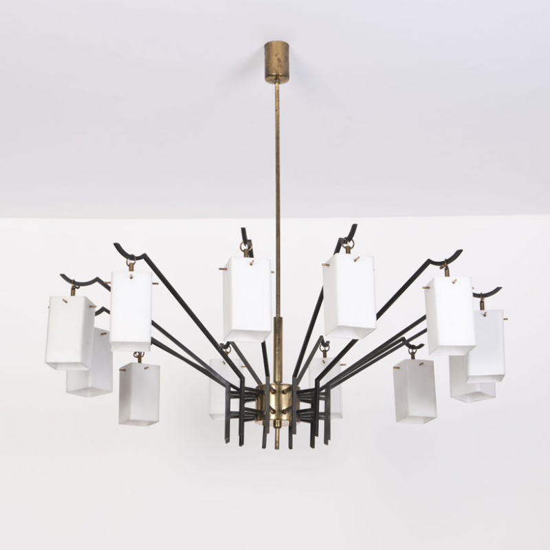 Anonymous; Brass and Glass Ceiling Light by Stilnovo, c1960.