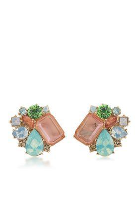 Carolee GoldMulti Gold-Tone Cosmopolitan Club Button Earrings