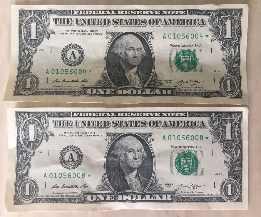 1 One Dollar Bill 2013 Star Notes Money Low Serial Number A01056004 01056008