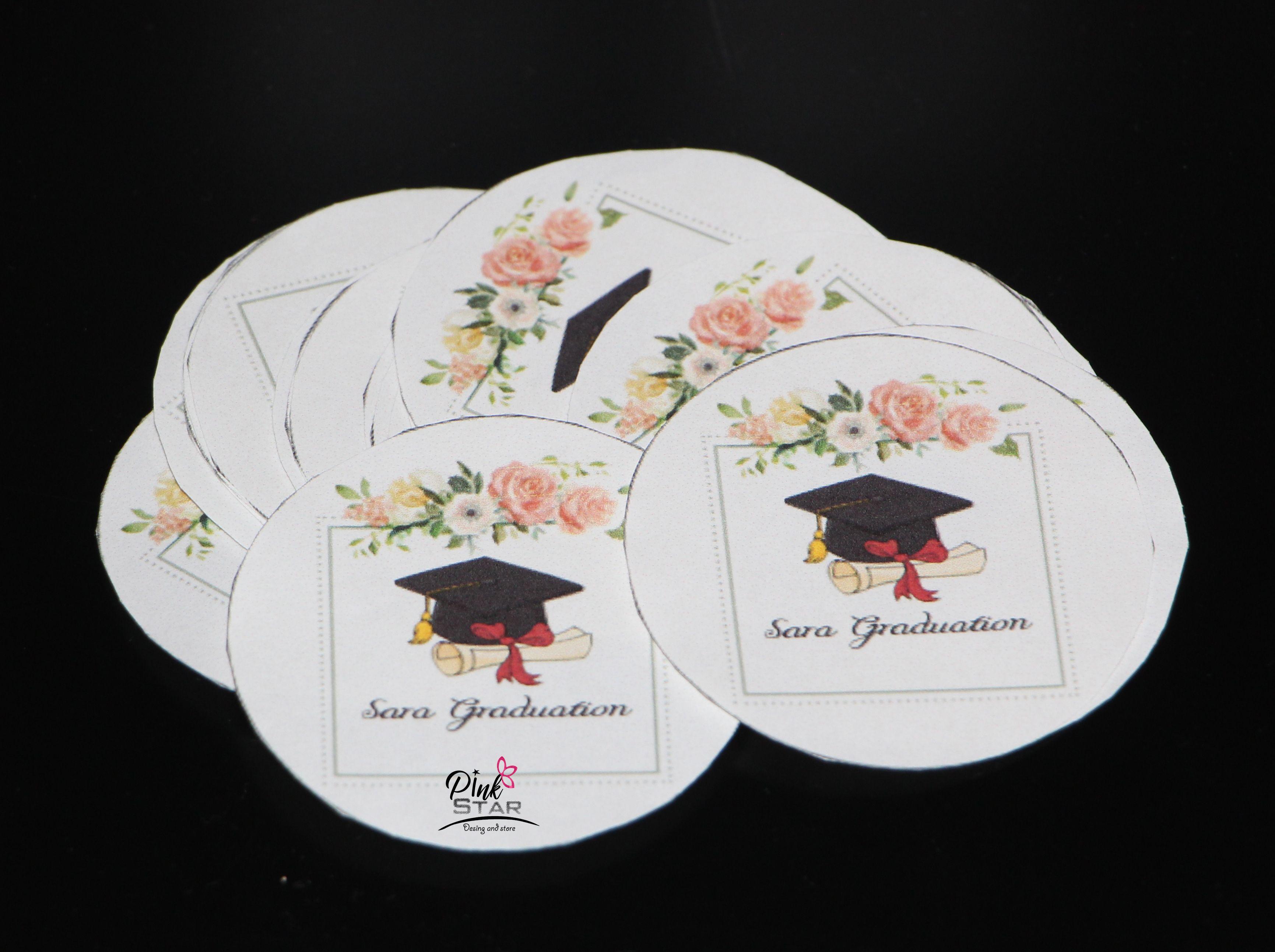 ثيم التخرج للتوزيعات Pink Stars Decorative Plates Pink