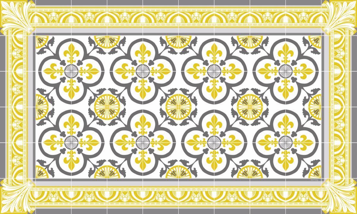 Tapis Imitation Carreaux De Ciment Vinyle tapis vinyle carreaux de ciment - garance - jaune moutarde