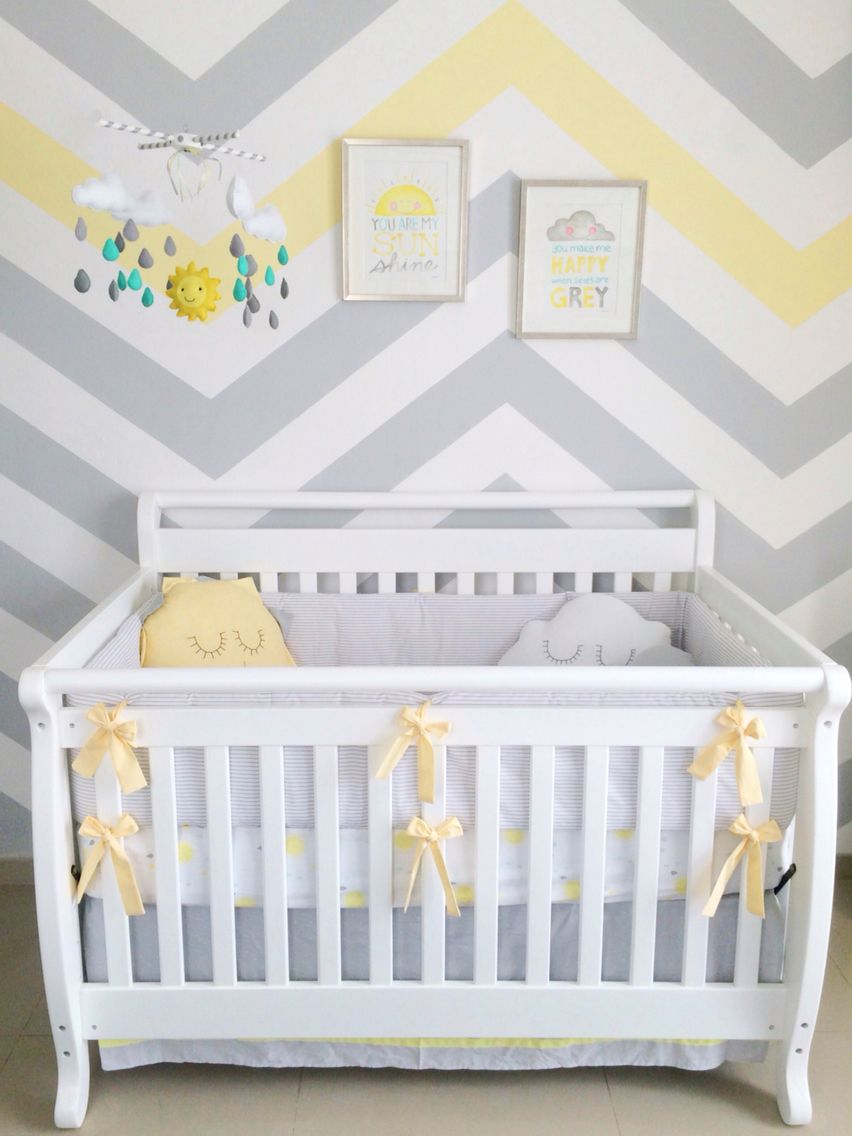 Baby boy nursery You are my sunshine theme; sun clouds rain chevron gray and yellow colors