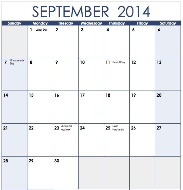 2014 Vertical Monthly Calendar Template Monthly Calendar Template
