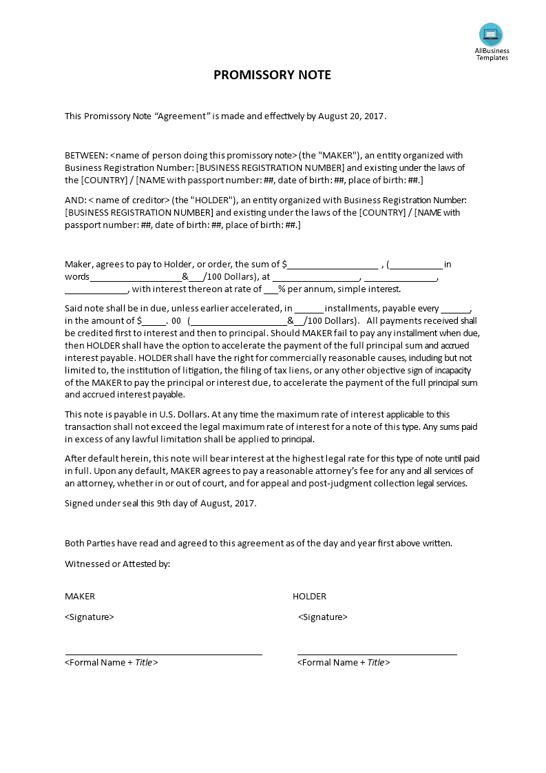 Printable Promissory Note Form Promissory Note  How To Write A Promissory Note Download This Long .