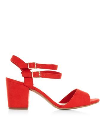 Wide Fit Red Double Ankle Strap Heels